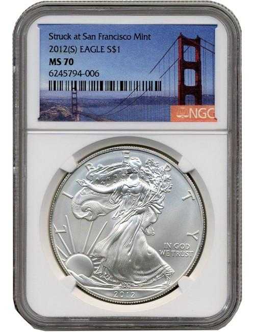 2012-S Silver Eagle Struck at San Francisco Mint NGC MS70