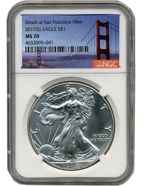 2017-S Silver Eagle Struck at San Francisco Mint NGC MS70