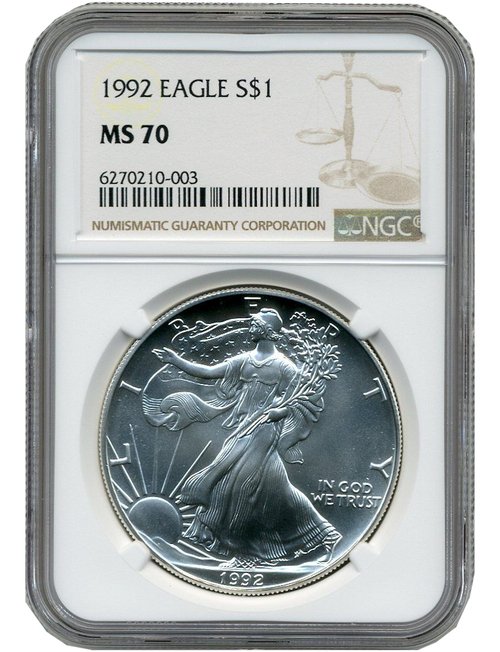 1992 American Silver Eagle NGC MS70 - Pop 606