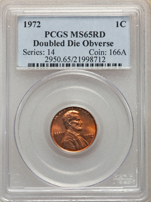 1972 1C Doubled Die Obverse RD Lincoln Cent PCGS MS65
