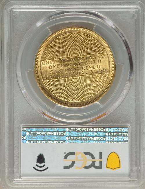 1853 $20 Assay Office 900 Thous. Territorial Gold PCGS MS62