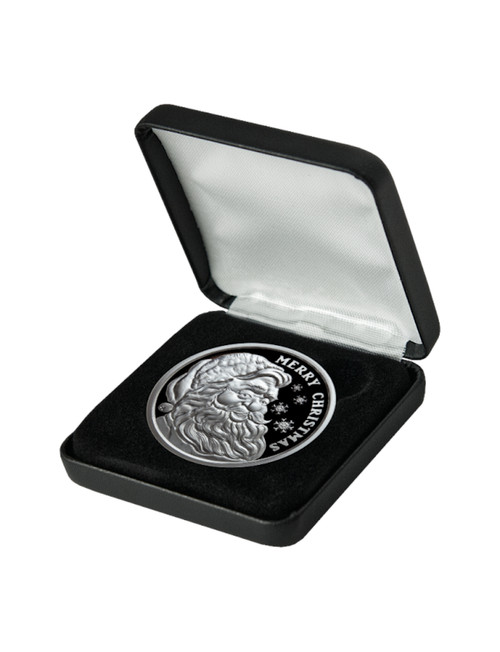 2021 1 oz Merry Christmas Santa Proof Silver Round .999 Fine leatherette box & capsule included