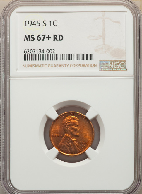 1945-S 1C RD NGC Plus Lincoln Cent NGC MS67+