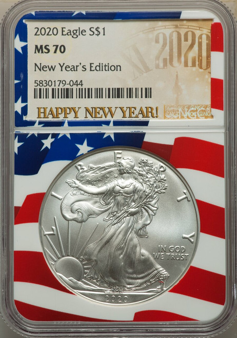 2020 $1 Silver Eagle New Years Edition Flag Core Label NGC MS70