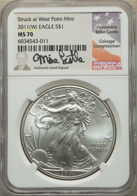 2011-(W) $1SilverEagle Struck atWest Point NGC MS70 Castle Signed