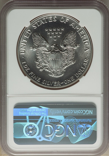 1987 $1American SilverEagle NGC MS70 Castle Signed
