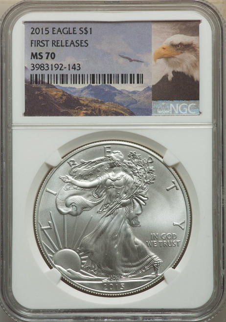 2015$1 Silver Eagle First Releases Eagle Label NGC MS70