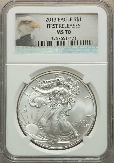 2013$1SilverEagleFirst Releases Eagle Label NGC MS70