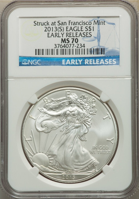 2013 (S) $1 Silver Eagle First Strike Struck at San Francisco NGC MS70