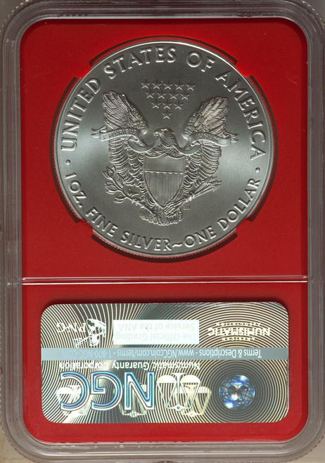 2016$1 Silver Eagle 30th Anniversary First Day of Issue Red Core NGC MS70