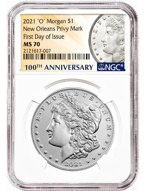 2021-O $1 Morgan Dollar New Orleans Privy Mark FDI NGC MS70
