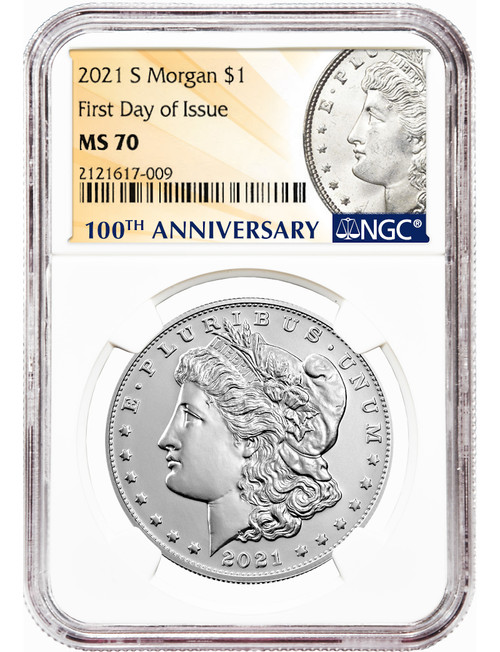 2021-S $1 Morgan Dollar First Day of Issue NGC MS70