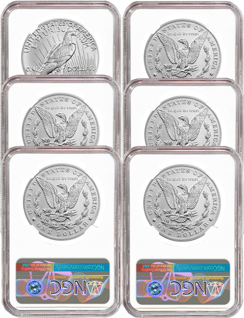 2021 Morgan Peace Dollar First Day of Issue NGC MS70 6-pc Complete Set 100th Anniversary