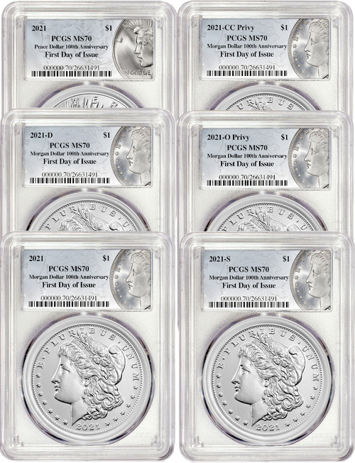 2021 Morgan Peace Dollar First Day of Issue PCGS MS70 6-pc Complete Set 100th Anniversary