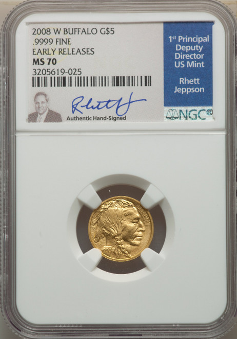 2008-W $5 Burnished Tenth-Ounce Gold Buffalo First Strike Modern Bullion Coins NGC MS70
