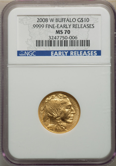 2008-W $10 Buffalo Quarter-Ounce Gold First Strike SP Modern Bullion Coins NGC MS70