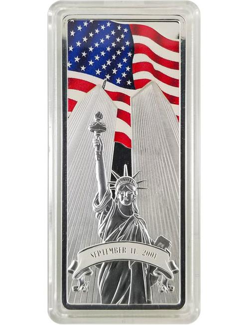 1 Ounce World Trade Center 20 Year Memorial Silver Bar - 9/11 Memorial Design