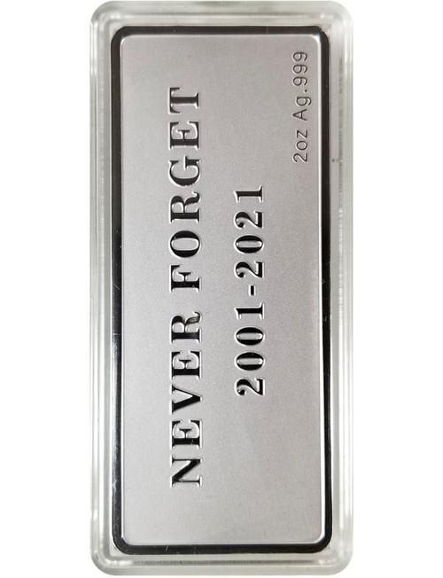 2 Ounce World Trade Center 20 Year Memorial Silver Bar - 9/11 Memorial Design