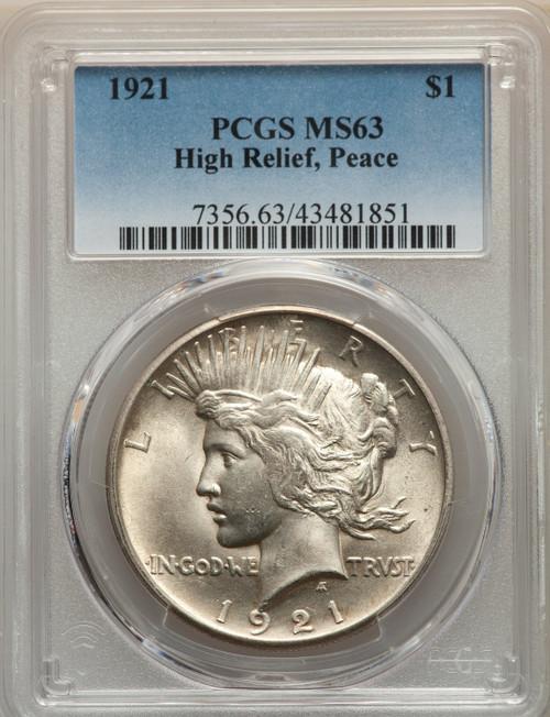 1921 S$1 Peace Peace Dollar PCGS MS63