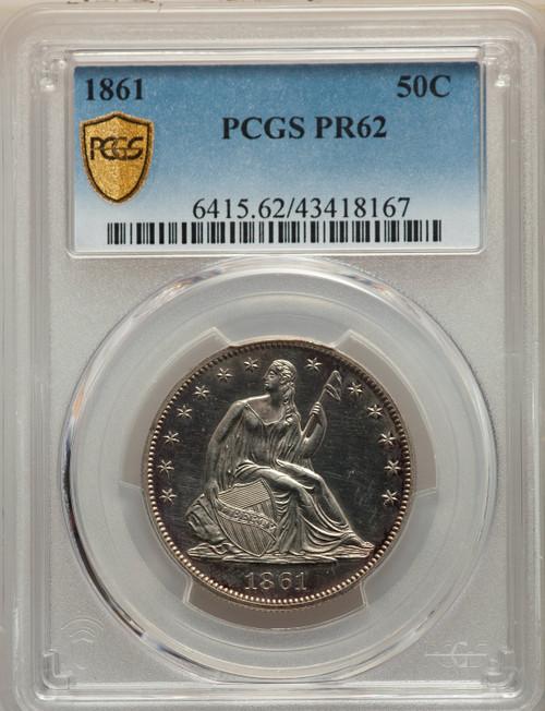 1861 50C Proof Seated Half Dollar PCGS PR62