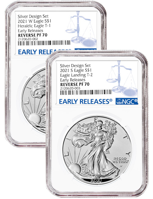 2021-S 2021-W Two-Coin Silver Eagle Set Reverse Proof Type 1 & 2 Designer Edition ER NGC PF70
