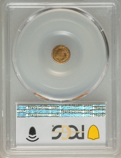 1859Liberty Round 25 Cents BG-801 R.3 California Fractional Gold PCGS MS66