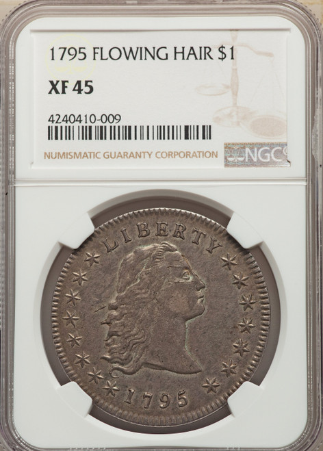 1795 S$1 Flowing Hair Three Leaves Early Dollar NGC XF45