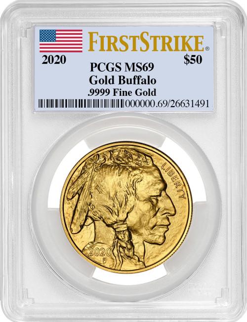 2020-W $50 Proof Gold Buffalo FS Flag Label PCGS MS69