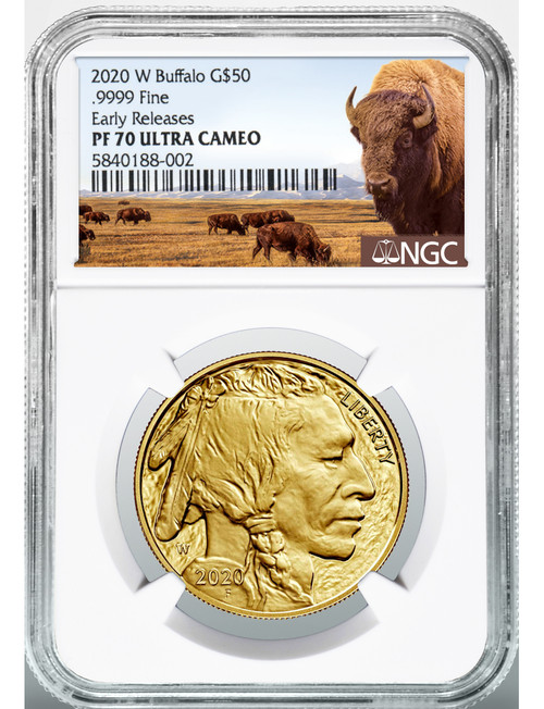 2020-W $50 Proof Gold Buffalo Bison Label ER NGC PF70UCAM