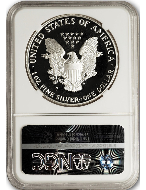 1986-S $1 Proof Silver Eagle NGC PF70 Ultra Cameo John Mercanti Signed
