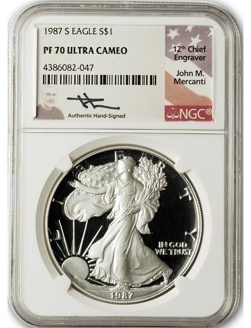 1987-S $1 Proof Silver Eagle NGC PF70 Ultra Cameo John Mercanti Signed