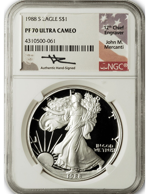 1988-S $1 Proof Silver Eagle NGC PF70 Ultra Cameo John Mercanti Signed