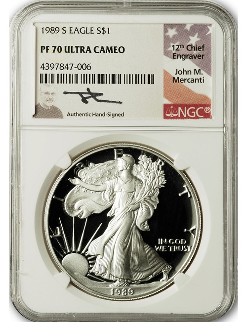 1989-S $1 Proof Silver Eagle NGC PF70 Ultra Cameo John Mercanti Signed