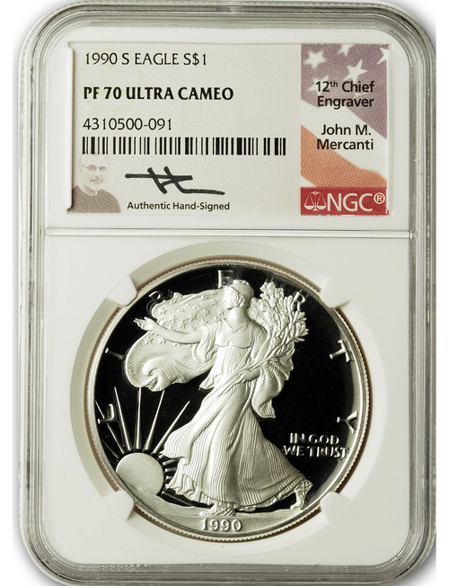 1990-S $1 Proof Silver Eagle NGC PF70 Ultra Cameo John Mercanti Signed