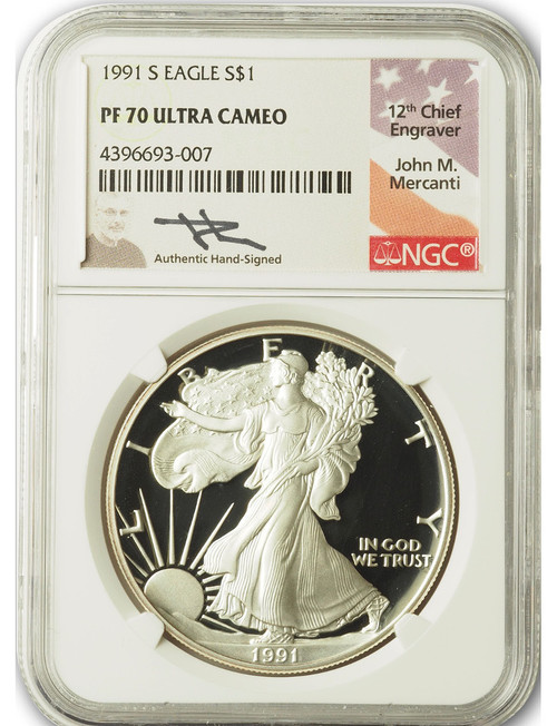 1991-S $1 Proof Silver Eagle NGC PF70 Ultra Cameo John Mercanti Signed