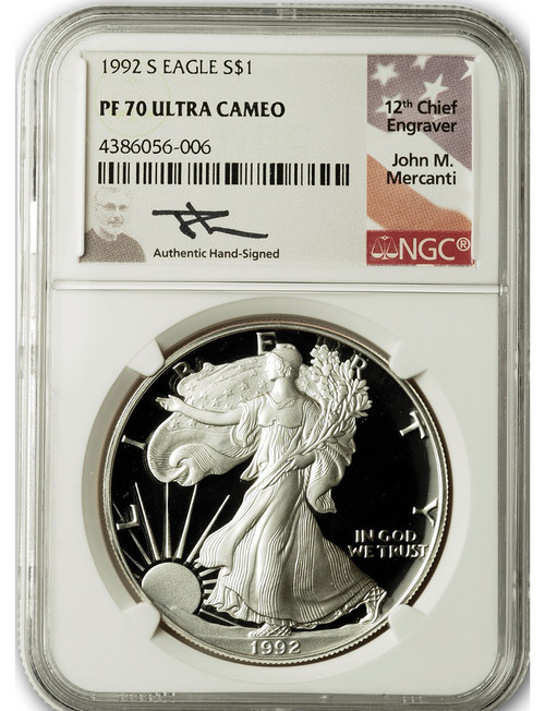 1992-S $1 Proof Silver Eagle NGC PF70 Ultra Cameo John Mercanti Signed