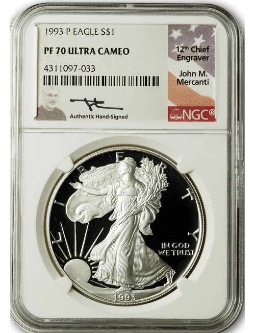 1993-P $1 Proof Silver Eagle NGC PF70 Ultra Cameo John Mercanti Signed