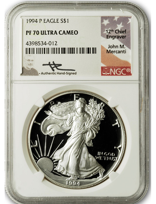 1994-P $1 Proof Silver Eagle NGC PF70 Ultra Cameo John Mercanti Signed