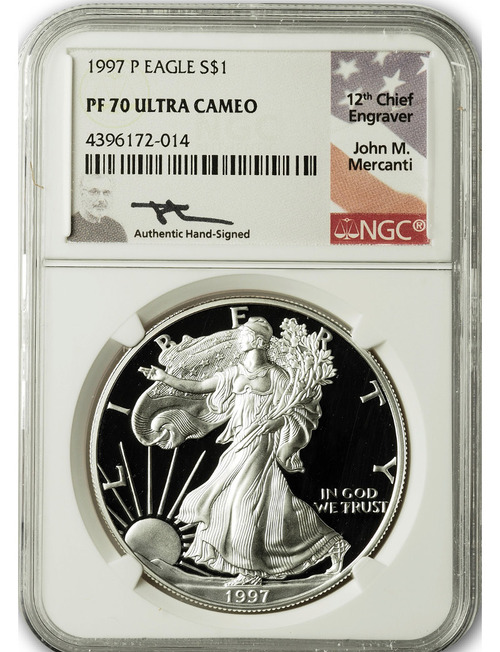 1997 P $1 Proof Silver Eagle NGC PF70 Ultra Cameo John Mercanti Signed
