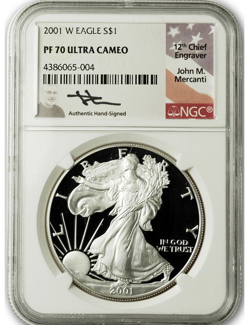 2001 W $1 Proof Silver Eagle NGC PF70 Ultra Cameo John Mercanti Signed