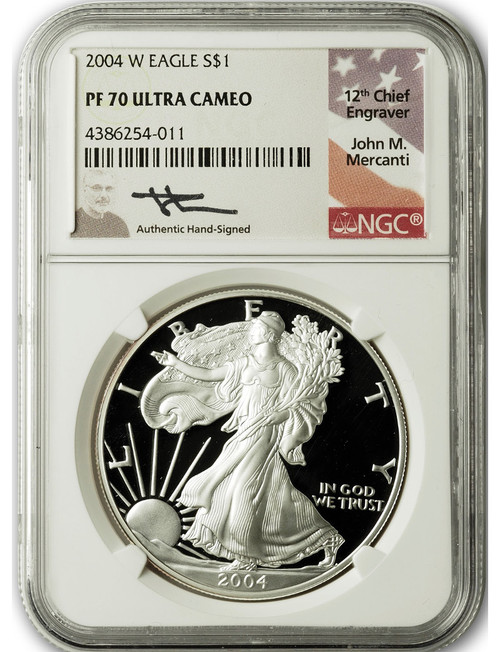 2004-W $1 Proof Silver Eagle NGC PF70 Ultra Cameo John Mercanti Signed