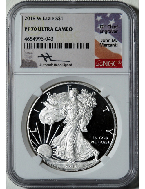 2018-W $1 Silver Eagle NGC PF70 Ultra Cameo Mercanti Signed