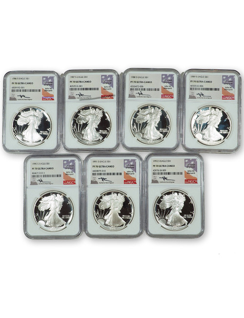 1986-2020 $1 Silver Eagle 34-pc Set NGC PF70 Ultra Cameo Mercanti Signed