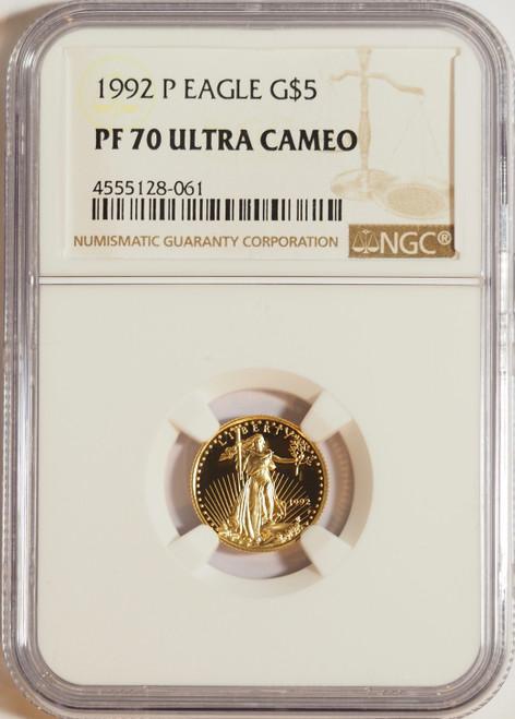 1992 1/10 oz U.S. Mint Proof Gold Eagle NGC PF70 Ultra Cameo