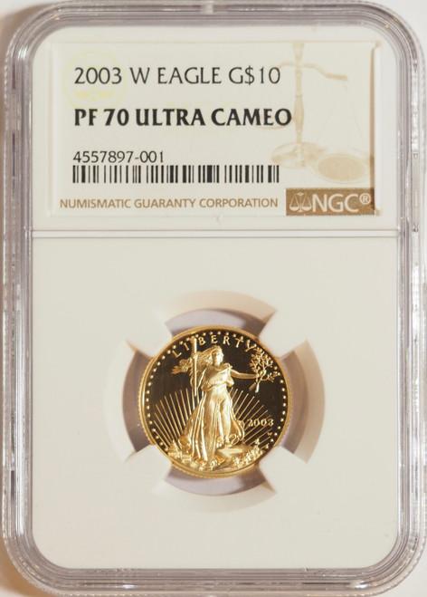 2003 1/4 oz U.S. Mint Proof Gold Eagle NGC PF70 Ultra Cameo