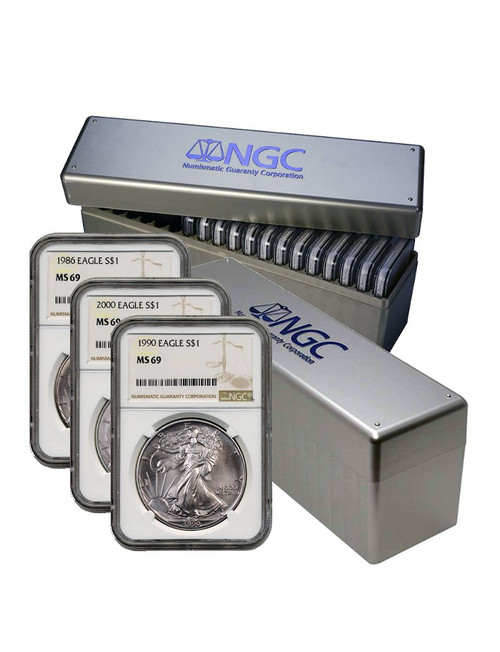 1986-2021 American Silver Eagle 36-pc Set NGC MS69 (2 New NGC Boxes)