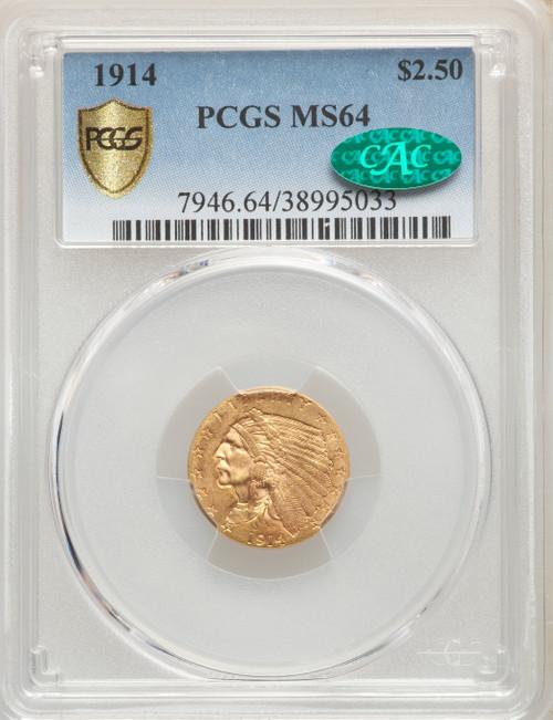 1914 $2.50 Gold Indian Quarter Eagle PCGS MS64 CAC