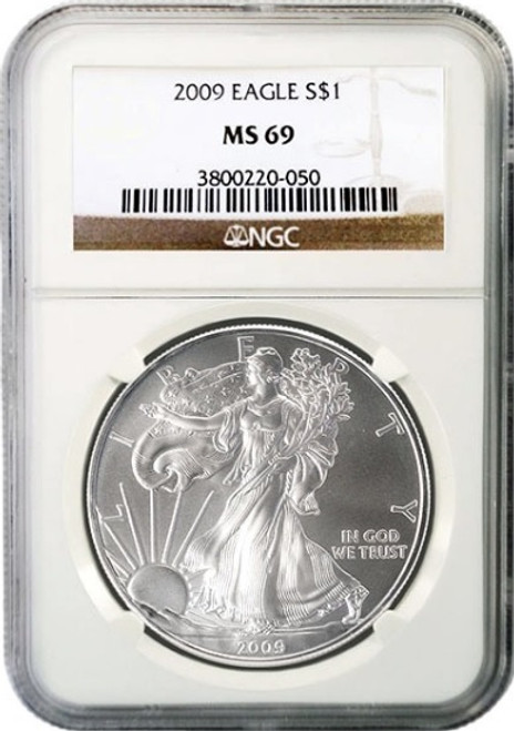 2009 $1 American Silver Eagle NGCMS69