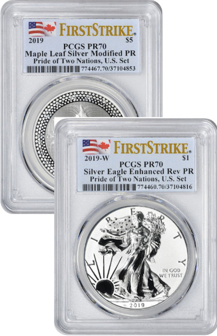 2019 Pride of Two Nations ERP American Silver Eagle MP Canadian Maple 2-Coin Set FS PCGS PR70