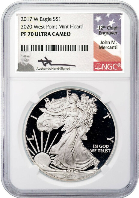 2017-W Silver Eagle 2020 West Point Hoard NGC PF70 Ultra Cameo Mercanti Signed